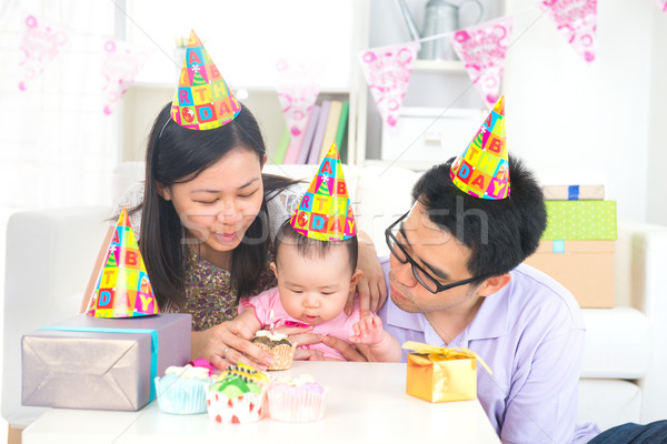 asian chinese parent celebrating baby full moon party Stock photo © yuliang11