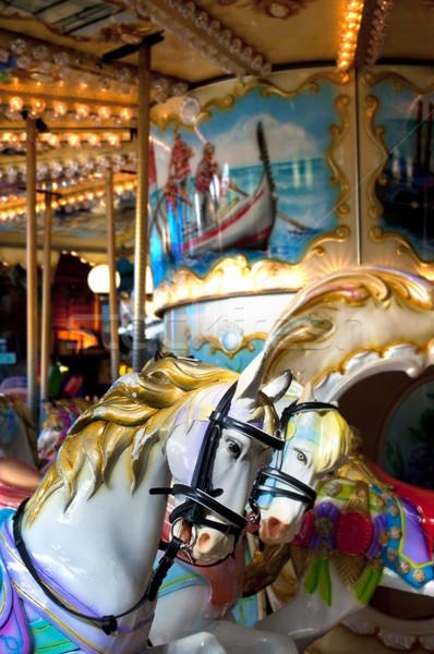 ヴィンテージ 回転木馬 幸せ おもちゃ 黒 公園 ストックフォト © yuliang11