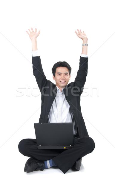 Gelukkig jonge asian zakenman vergadering laptop Stockfoto © yuliang11