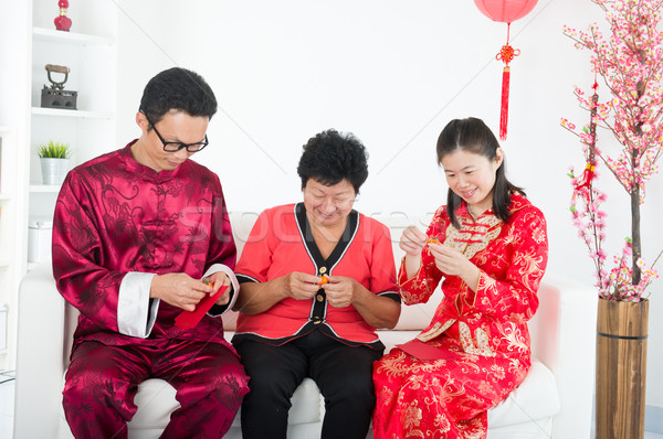 chinese family celebrating lunar new year Stock photo © yuliang11