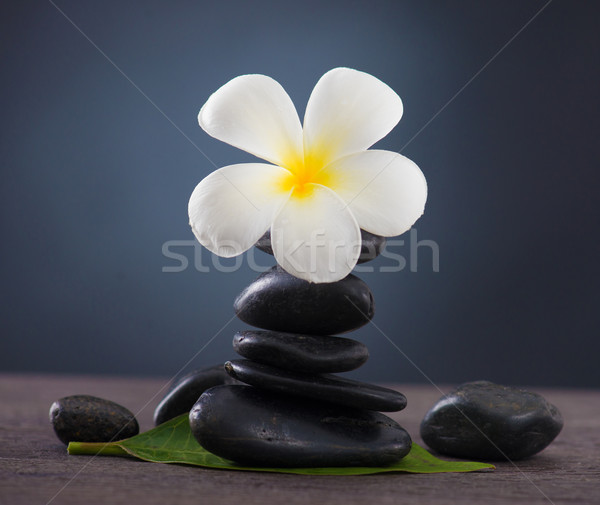 Stacked hot stones for massage spa and frangipani with green bac Stock photo © yuliang11