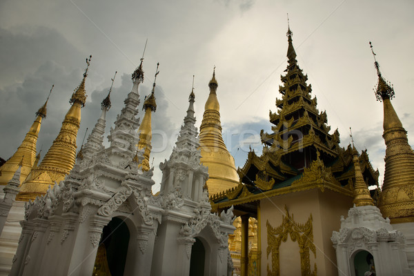 Pagoda puesta de sol cielo nubes verano oro Foto stock © yuliang11