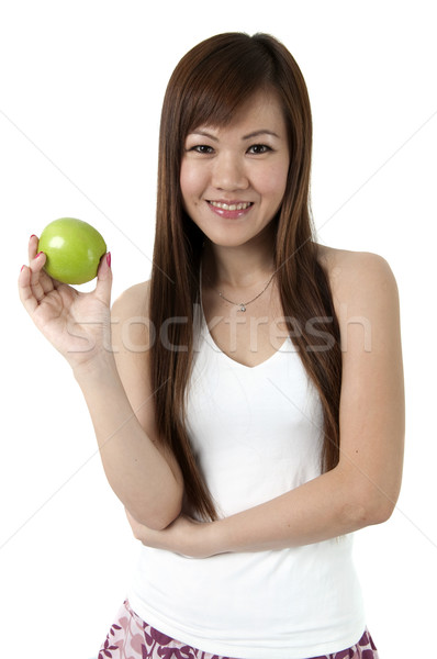 Gezond eten geïsoleerd witte hand vruchten schoonheid Stockfoto © yuliang11