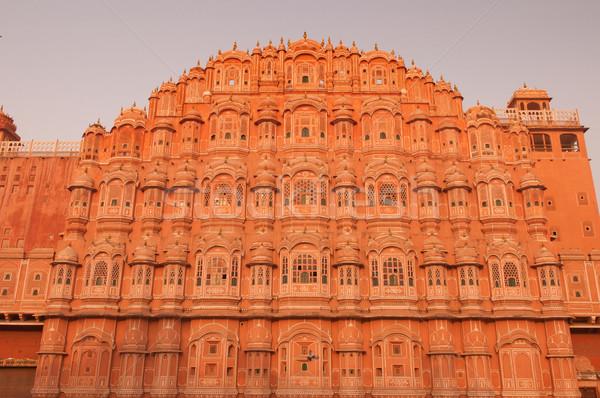 Stock fotó: Tájékozódási · pont · rózsaszín · város · India · fotó · épület