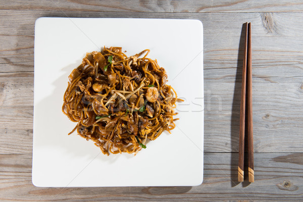 Fried Penang Char Kuey Teow top down view which is a popular noo Stock photo © yuliang11