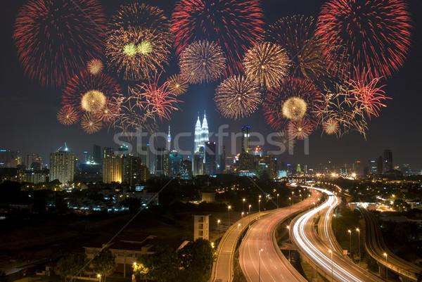 Kuala Lumpur gece görmek havai fişek gökyüzü Bina Stok fotoğraf © yuliang11