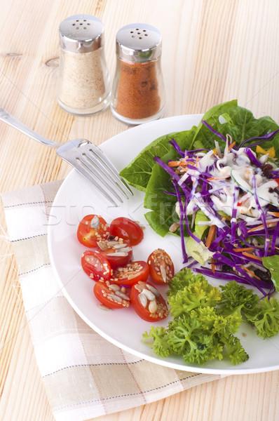 Salade plaat keuken tuin eten witte Stockfoto © yuliang11