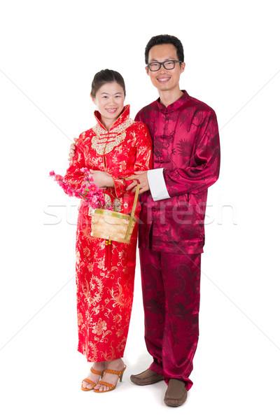 Jóvenes año nuevo chino marido esposa Pareja mujer Foto stock © yuliang11