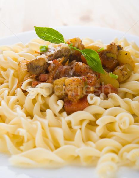 Fusilli with mushroom sauce Stock photo © yuliang11