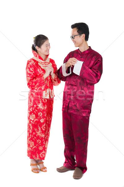 Kínai új év férj feleség pár nő pénz Stock fotó © yuliang11