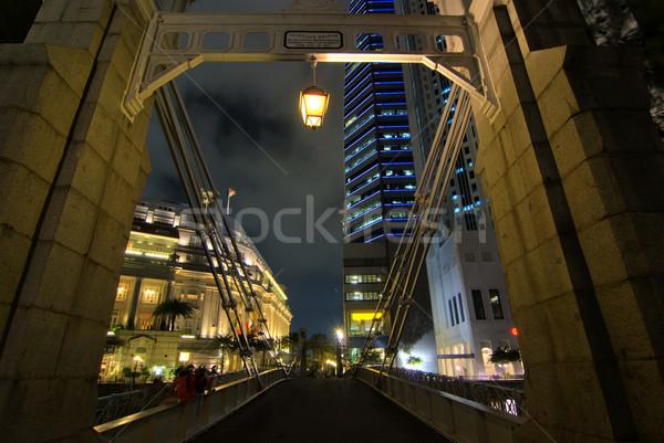 Singapore zakenwijk stad landschap brug nacht Stockfoto © yuliang11