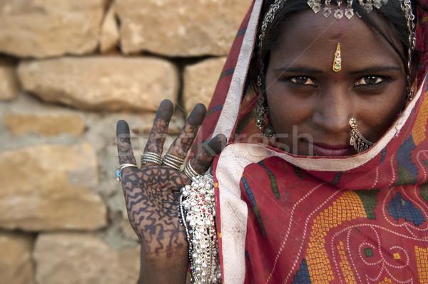 Portret Indië vrouw meisje bruid Stockfoto © yuliang11