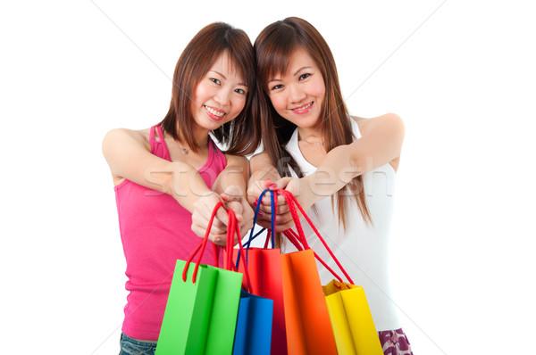 Gelukkig asian meisjes permanente papier Stockfoto © yuliang11