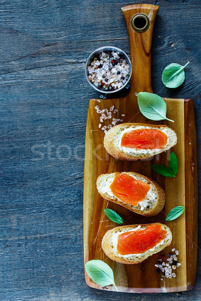 Salmon, ricotta and basil sandwiches Stock photo © YuliyaGontar