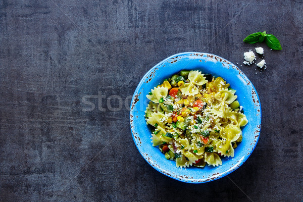 Сток-фото: итальянский · пасты · обеда · цельной · пшеницы · овощей · сыр · пармезан