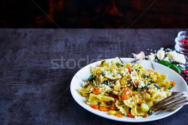 Italiano macarrão jantar vegetariano legumes Foto stock © YuliyaGontar