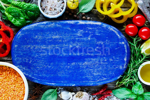 Red lentil and ingredients Stock photo © YuliyaGontar