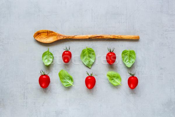 помидоров базилик здорового приготовления Ингредиенты Creative Сток-фото © YuliyaGontar
