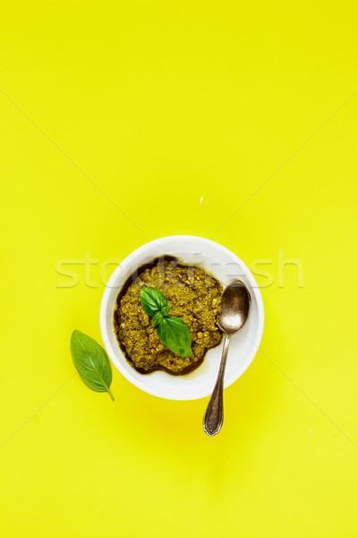 İtalyan pesto sos taze fesleğen sarı Stok fotoğraf © YuliyaGontar