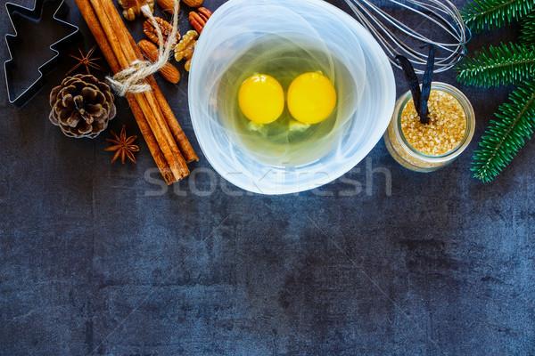 ünnep pékség felső kilátás karácsony új év Stock fotó © YuliyaGontar
