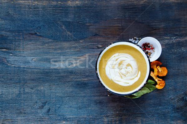 Kremsi çorba bağbozumu kupa krem hizmet Stok fotoğraf © YuliyaGontar
