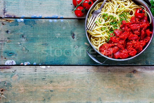 Spaghetti with tomato sauce Stock photo © YuliyaGontar