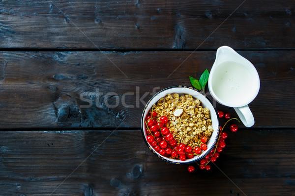 Stock fotó: Egészséges · reggeli · hozzávalók · házi · készítésű · granola · tál