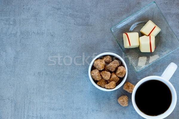 Tazza di caffè zucchero di canna cioccolato bianco grigio top Foto d'archivio © YuliyaGontar