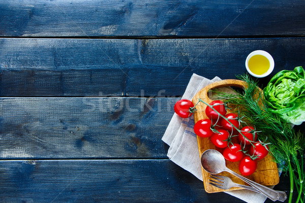 Stockfoto: Schone · voedsel · keuken · houten · tafel · seizoen- · groenten
