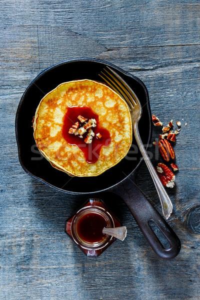 Stack of american pancakes Stock photo © YuliyaGontar