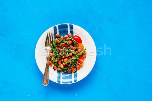 Vegan bab saláta kék egészséges energia Stock fotó © YuliyaGontar