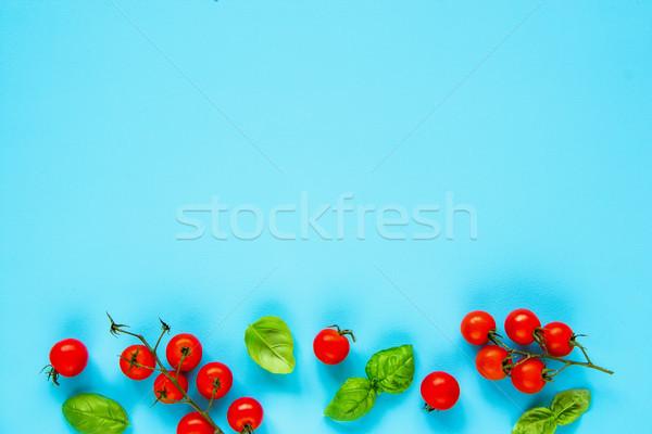 トマト バジル フレーム パステル 水色 クリーン ストックフォト © YuliyaGontar
