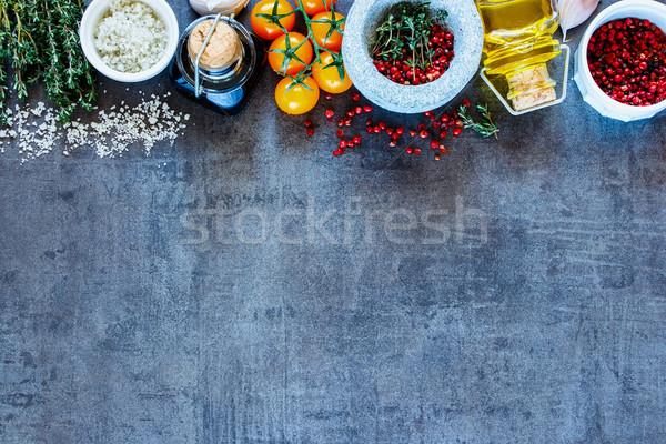 Baharatlar balsamik sirke zeytinyağı renkli sebze Stok fotoğraf © YuliyaGontar