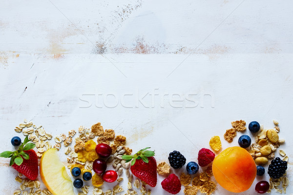 Stock fotó: Reggeli · smoothie · hozzávalók · finom · különböző · magvak