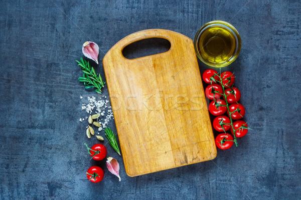 Friss organikus zöldségek felső kilátás üres Stock fotó © YuliyaGontar