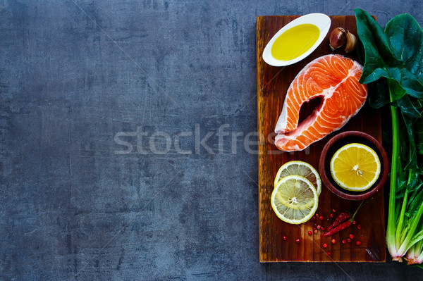 Fresh uncooked salmon Stock photo © YuliyaGontar