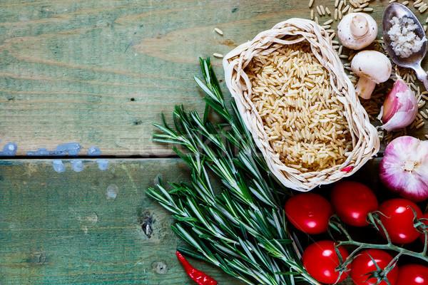 Stok fotoğraf: Kahverengi · pirinç · taze · sebze · baharatlar