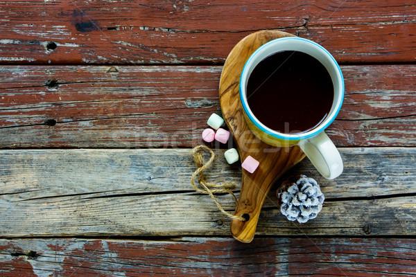 Stok fotoğraf: Sıcak · çikolata · içmek · sarı · fincan · rustik · ahşap