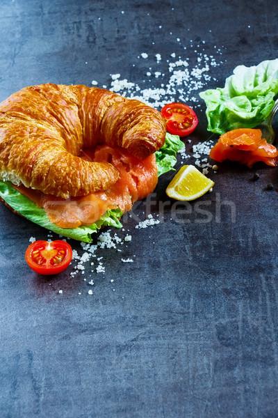 サンドイッチ ヴィンテージ 表 新鮮な野菜 クロワッサン ストックフォト © YuliyaGontar