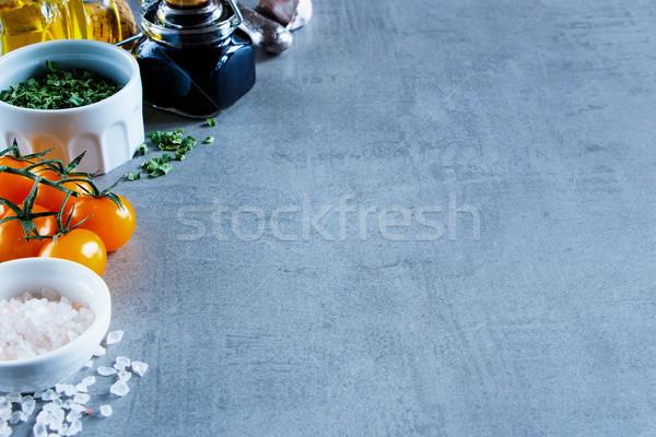 Stock fotó: Különböző · színes · fűszer · zöldségek · szürke · klasszikus