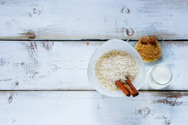 Malzemeler sütlaç üst görmek eski Stok fotoğraf © YuliyaGontar