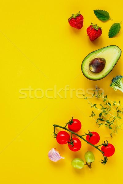Superfood on yellow background Stock photo © YuliyaGontar