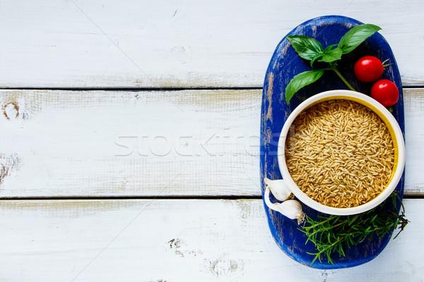Ryżu warzyw puchar brązowy surowy świeże warzywa Zdjęcia stock © YuliyaGontar