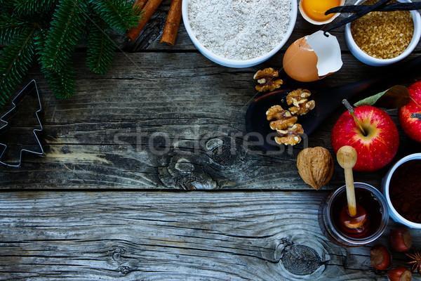 Navidad ingredientes superior vista vacaciones Foto stock © YuliyaGontar