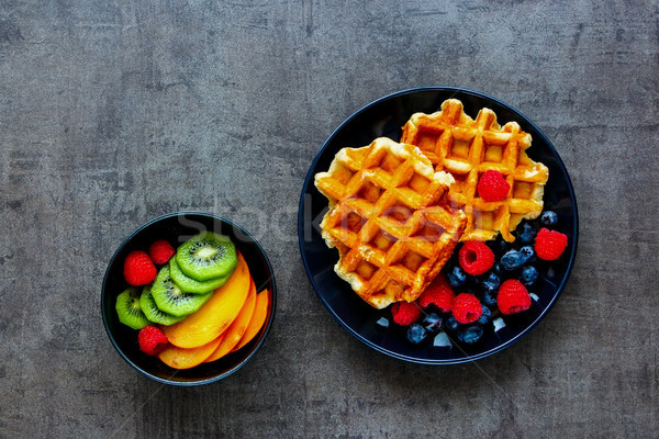 Belgian soft waffles Stock photo © YuliyaGontar