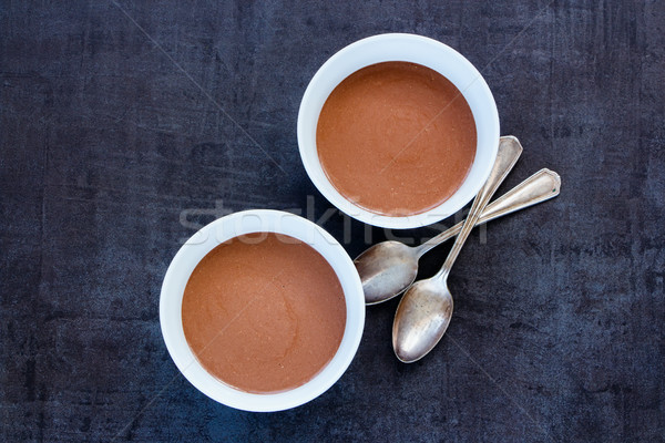 Chocolade smoothie kommen ontbijt banaan vintage Stockfoto © YuliyaGontar