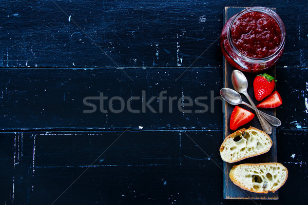 Baguette with strawberry jam Stock photo © YuliyaGontar