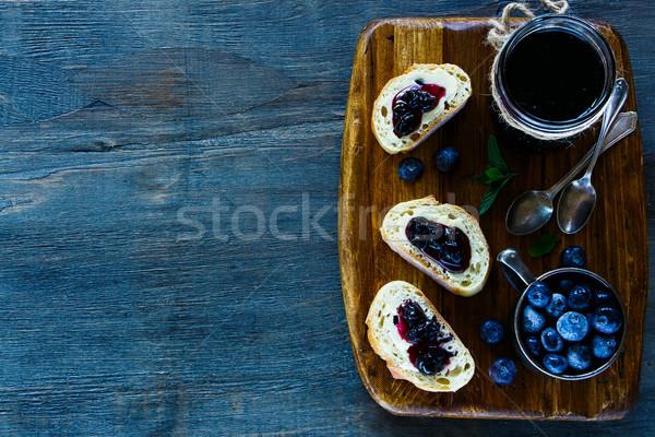 Reçel sandviçler kahvaltı ayarlamak ev yapımı Stok fotoğraf © YuliyaGontar