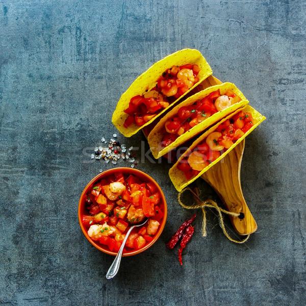 Mexikói konyha felső kilátás Seattle taco házi készítésű Stock fotó © YuliyaGontar