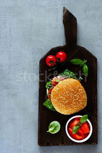 сэндвич лосося домашний помидоров базилик Сток-фото © YuliyaGontar